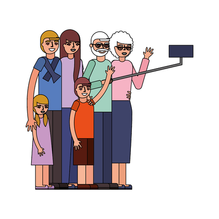 group of family members characters vector illustration design 向量圖像