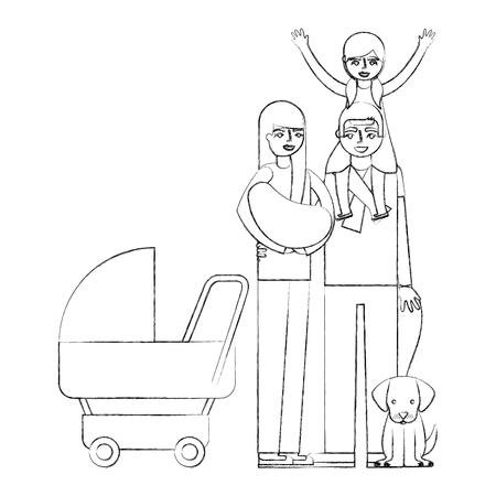 parents baby pram and little girl dog vector illustration hand drawing Illustration