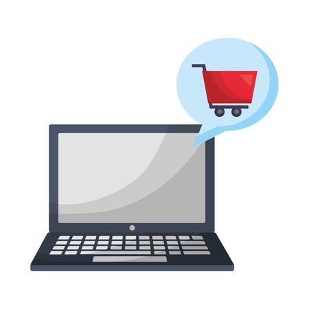 laptop computer with shopping cart vector illustration design