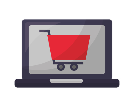laptop computer with shopping cart vector illustration design Stock Vector - 112326152