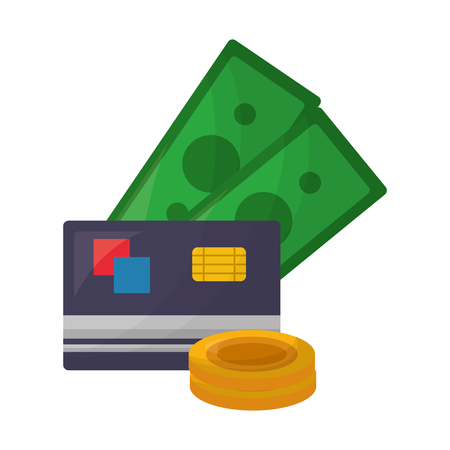 credit card with bills and coins vector illustration design