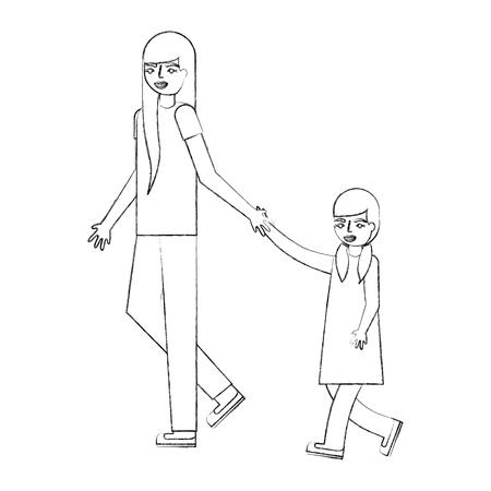 mother holding hand her daughter walking vector illustration hand drawing Illustration