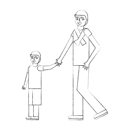 father holding hand her son walking together vector illustration hand drawing