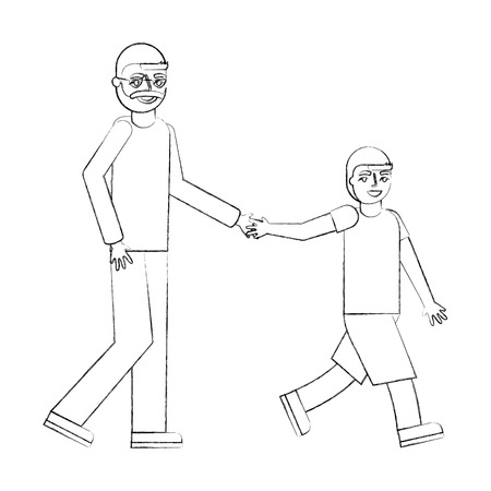 grandfather holding hand grandson walking vector illustration hand drawing