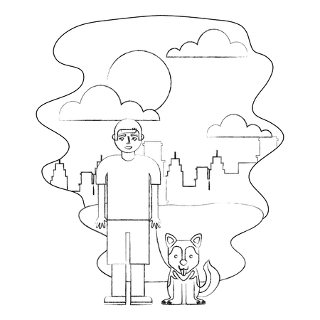 young boy with her siberian husky dog in the park city vector illustration hand drawing