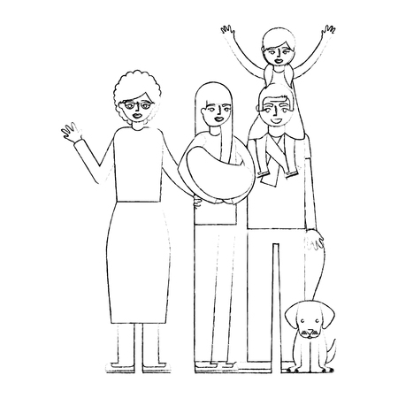 grandparents and parent with daughter and dog vector illustration hand drawing