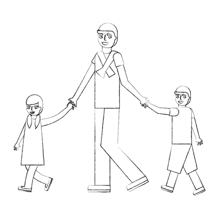 father walking with her son and daughter vector illustration hand drawing Illustration