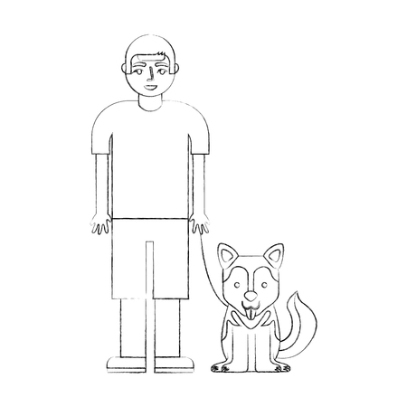 young boy with her siberian husky dog vector illustration hand drawing