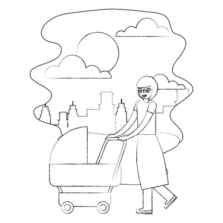 grandmother walking with pram baby in the street city vector illustration hand drawing