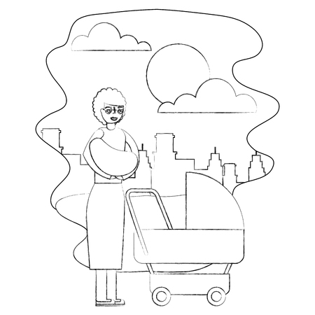 grandmother carrying grandchild on arms and pram in the park city vector illustration hand drawing
