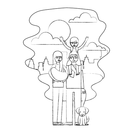 dad daughter and mom holding baby and dog in the park vector illustration hand drawing Illustration