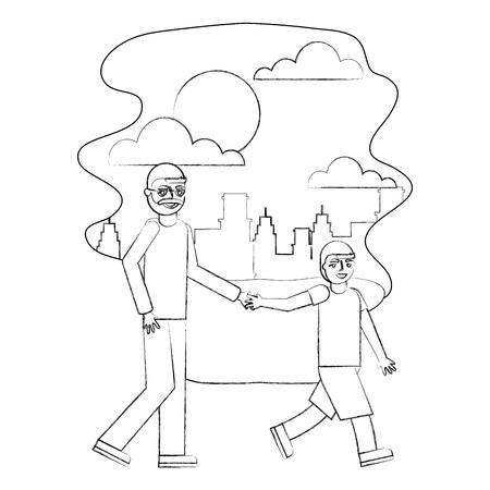 grandfather holding hand grandson walking in the park city vector illustration hand drawing Ilustração