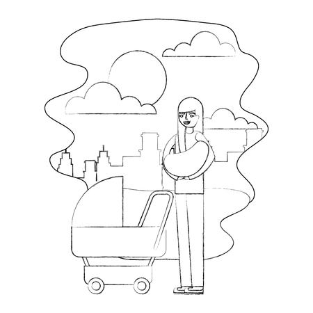 mother carrying her baby on arms and pram in the park city vector illustration hand drawing  イラスト・ベクター素材