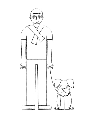 man standing near her schnauzer dog vector illustration hand drawing