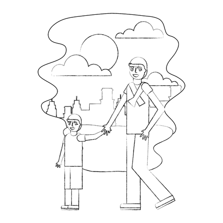 father holding hand her son walking together in the park city vector illustration hand drawing Ilustração
