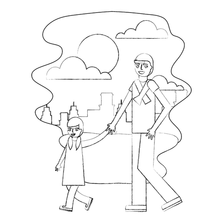 father holding hand her daughter walking together in the park city vector illustration hand drawing Ilustrace