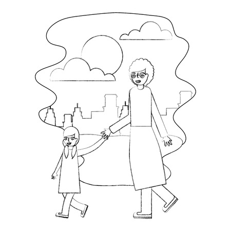 grandmother holding hand granddaughter walking vector illustration hand drawing