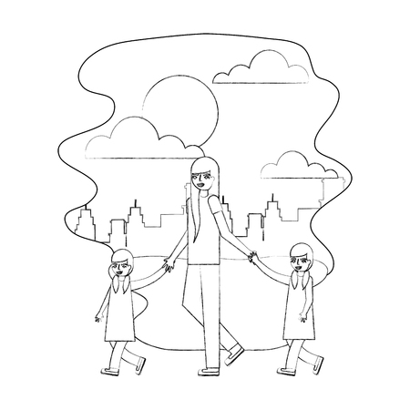 mother walking with twin daughters in the park city vector illustration hand drawing 向量圖像