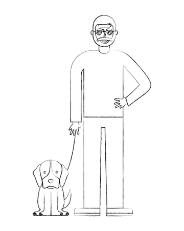 grandfather standing with her dog vector illustration hand drawing