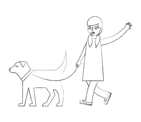 little girl walking with her dog pet vector illustration hand drawing Иллюстрация