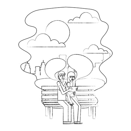 couple sitting on bench making selfie in the city vector illustration hand drawing