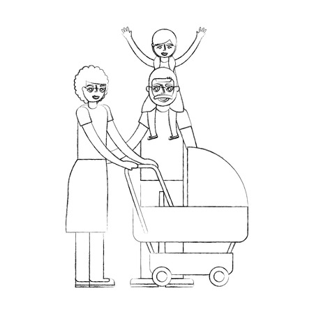 grandparents with graddaughter and baby pram vector illustration hand drawing 일러스트