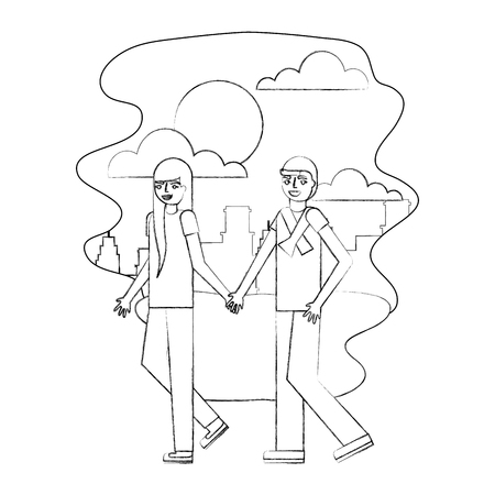 couple parents holding hands walking in the park city vector illustration hand drawing