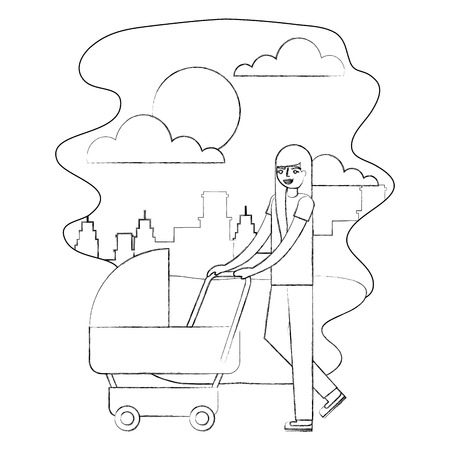 mother walking with pram baby in the street city vector illustration hand drawing Illustration