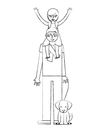 father carrying her daughter on shoulders and holding dog vector illustration hand drawing Banque d'images - 112326198