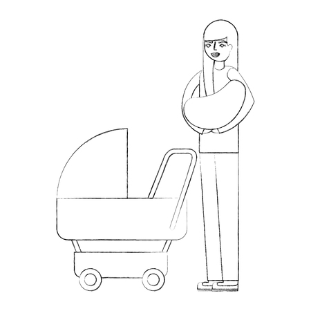 mother carrying her baby on arms and pram vector illustration hand drawing