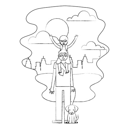 father carrying her daughter on shoulders and holding dog in the park city vector illustration hand drawing