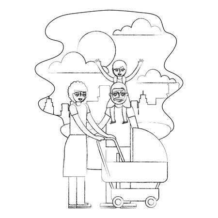 grandparents with graddaughter and baby pram vector illustration hand drawing Stock Illustratie