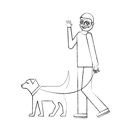 grandfather walking with her dog vector illustration hand drawing