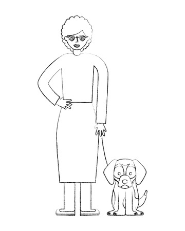grandmother standing with her beagle dog vector illustration hand drawing  イラスト・ベクター素材