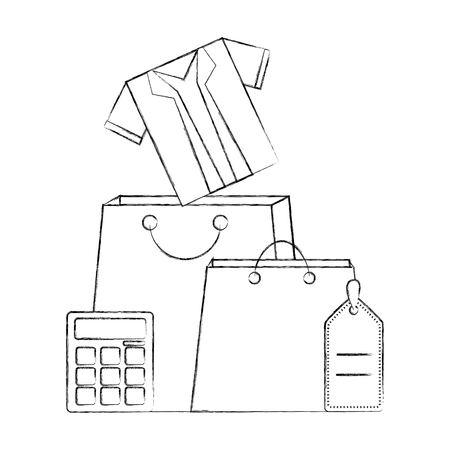 buy online clothes calculator tag price vector illustration hand drawing
