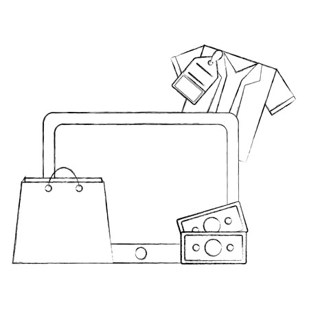 tablet mobile shopping bag shirt money buy online vector illustration hand drawing Illustration