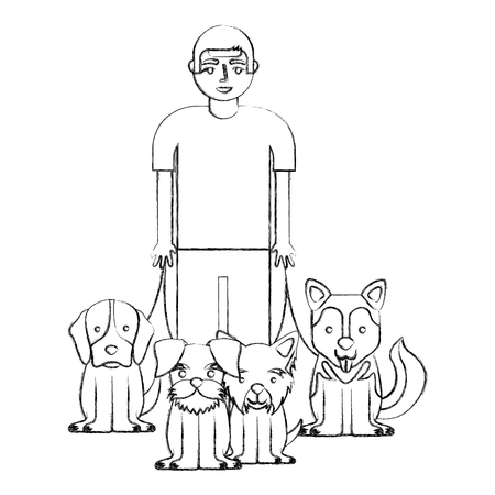 young man walking with dogs vector illustration hand drawing 向量圖像