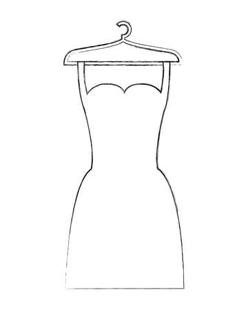 dress fashion with hanger model vector illustration hand drawing Illustration