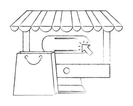 computer buy online shopping bag vector illustration hand drawing