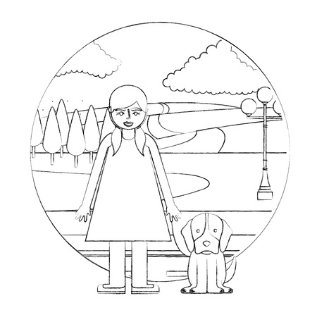 little girl with dog in the street park vector illustration hand drawing Иллюстрация