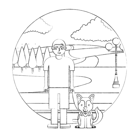 boy with her siberian dog in the street park vector illustration hand drawing