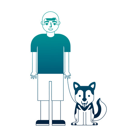 young boy with her siberian husky dog vector illustration neon desing