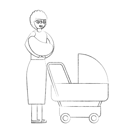 grandmother carrying grandchild on arms and pram vector illustration hand drawing