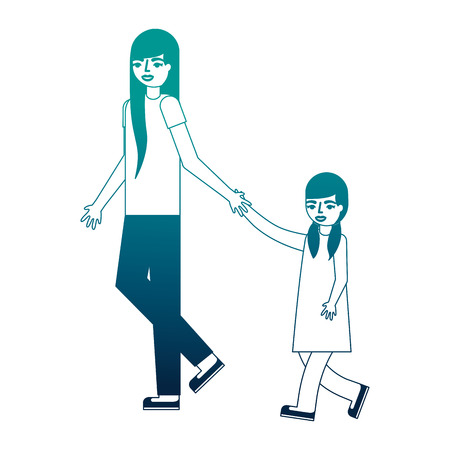 mother holding hand her daughter walking vector illustration neon desing
