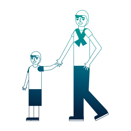 father holding hand her son walking together vector illustration neon desing