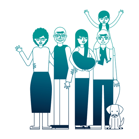 grandparents and parent with daughter and dog vector illustration neon desing