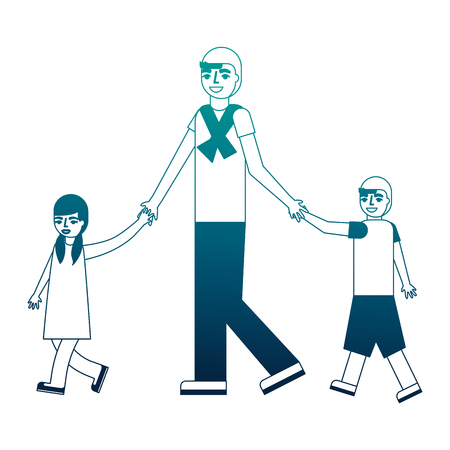 father walking with her son and daughter vector illustration neon desing Illusztráció