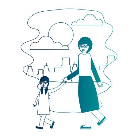 grandmother holding hand granddaughter walking vector illustration neon desing 일러스트