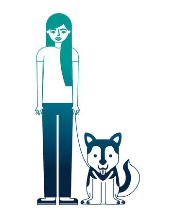 woman standing near her siberian dog vector illustration neon desing