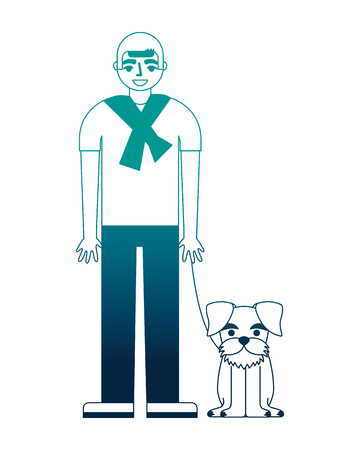 man standing near her schnauzer dog vector illustration neon desing